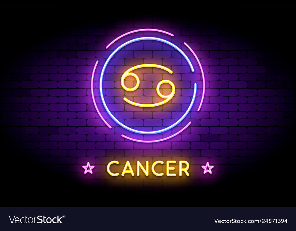 The cancer zodiac symbol in neon style on a wall