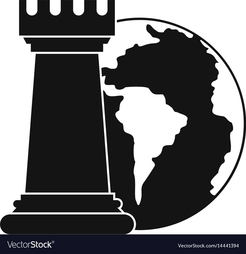 World planet and chess rook icon simple style vector image