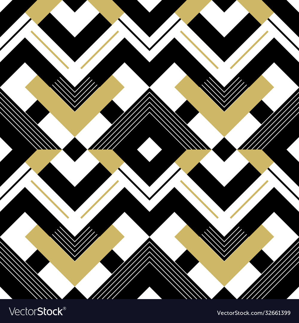 Abstract geometric gold black and white pattern