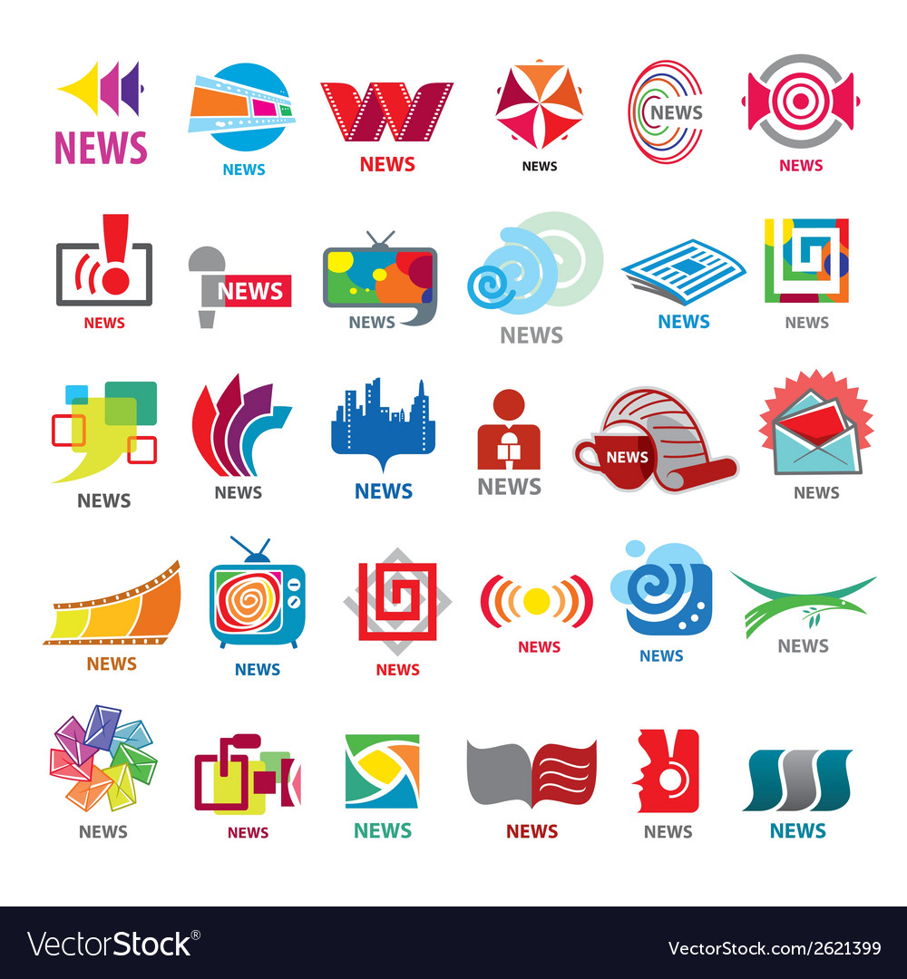 biggest collection of logos news royalty free vector image