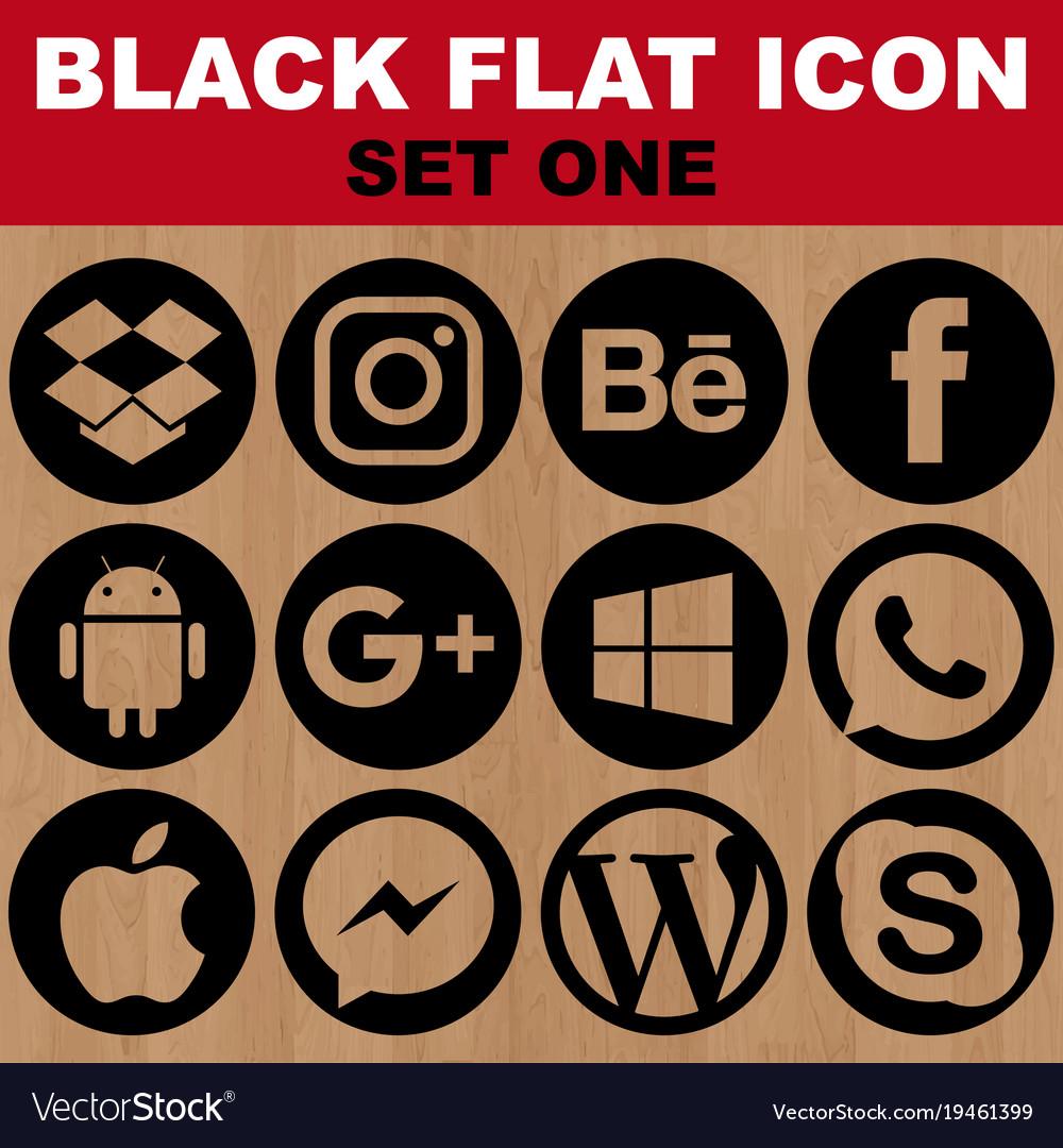 Black flat icon set one image vector image