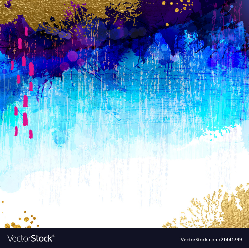 Bright contrast gold and blue watercolor stains on