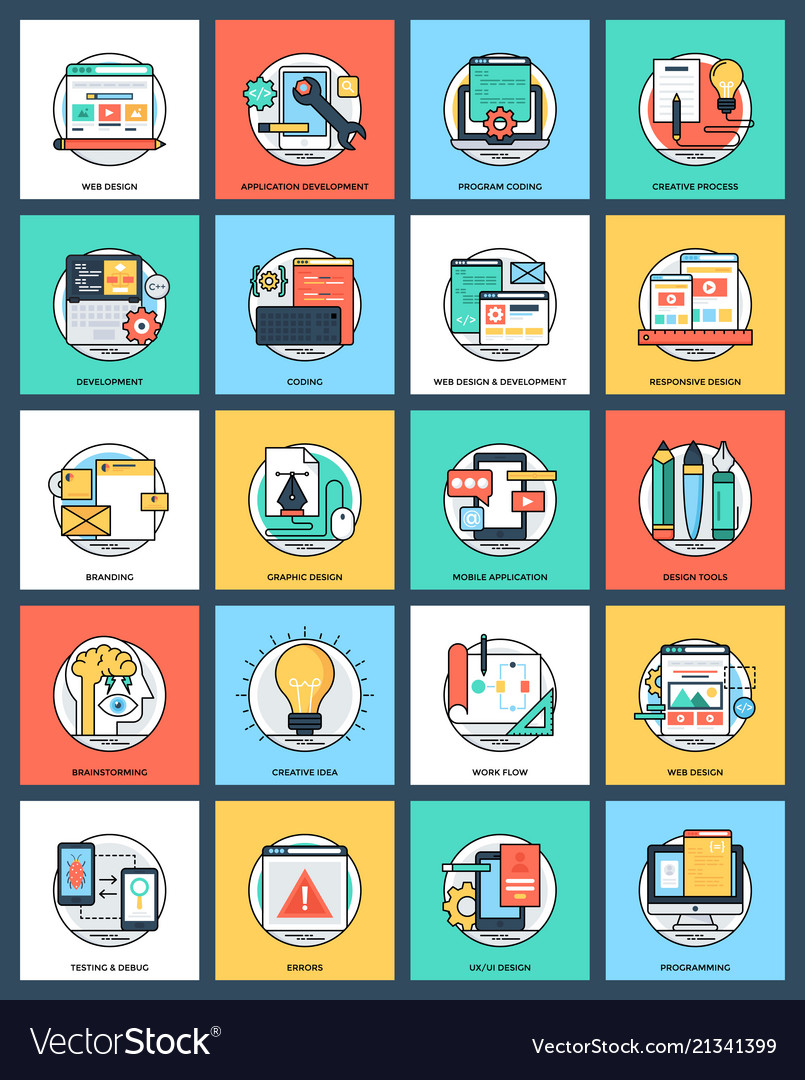 Bundle of design and development flat icon