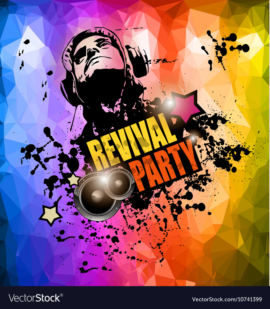 Club Disco Flyer template with Music Elements Vector Image