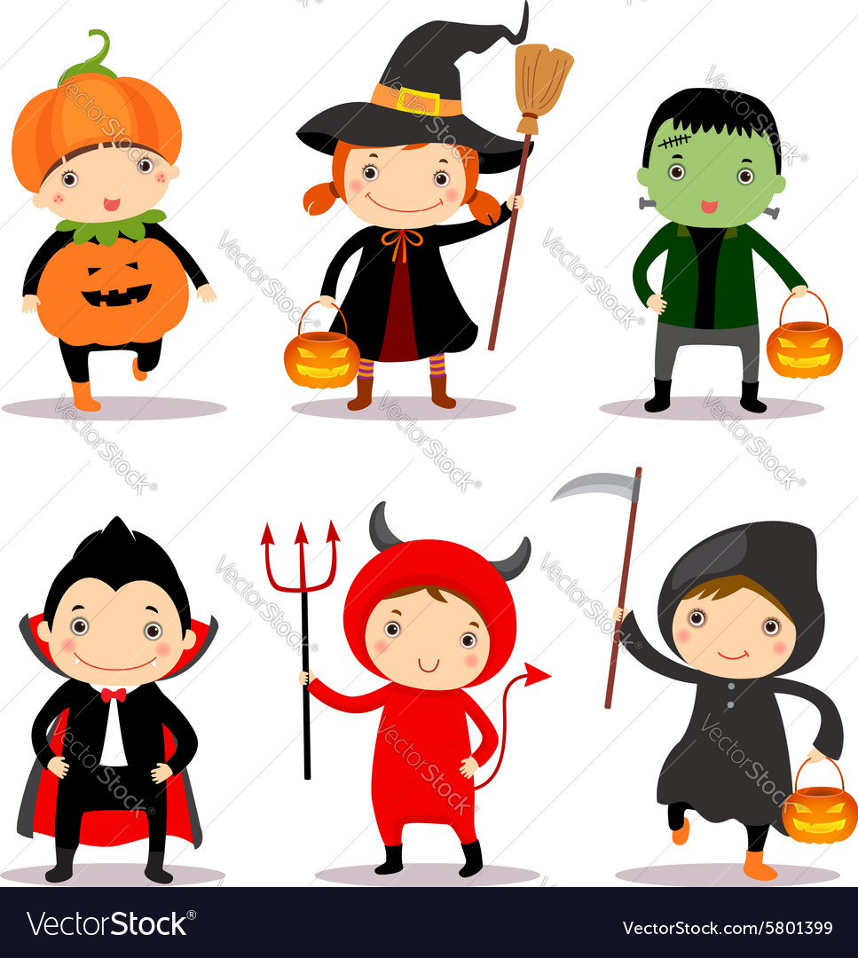 cute kids wearing halloween costumes royalty free vector