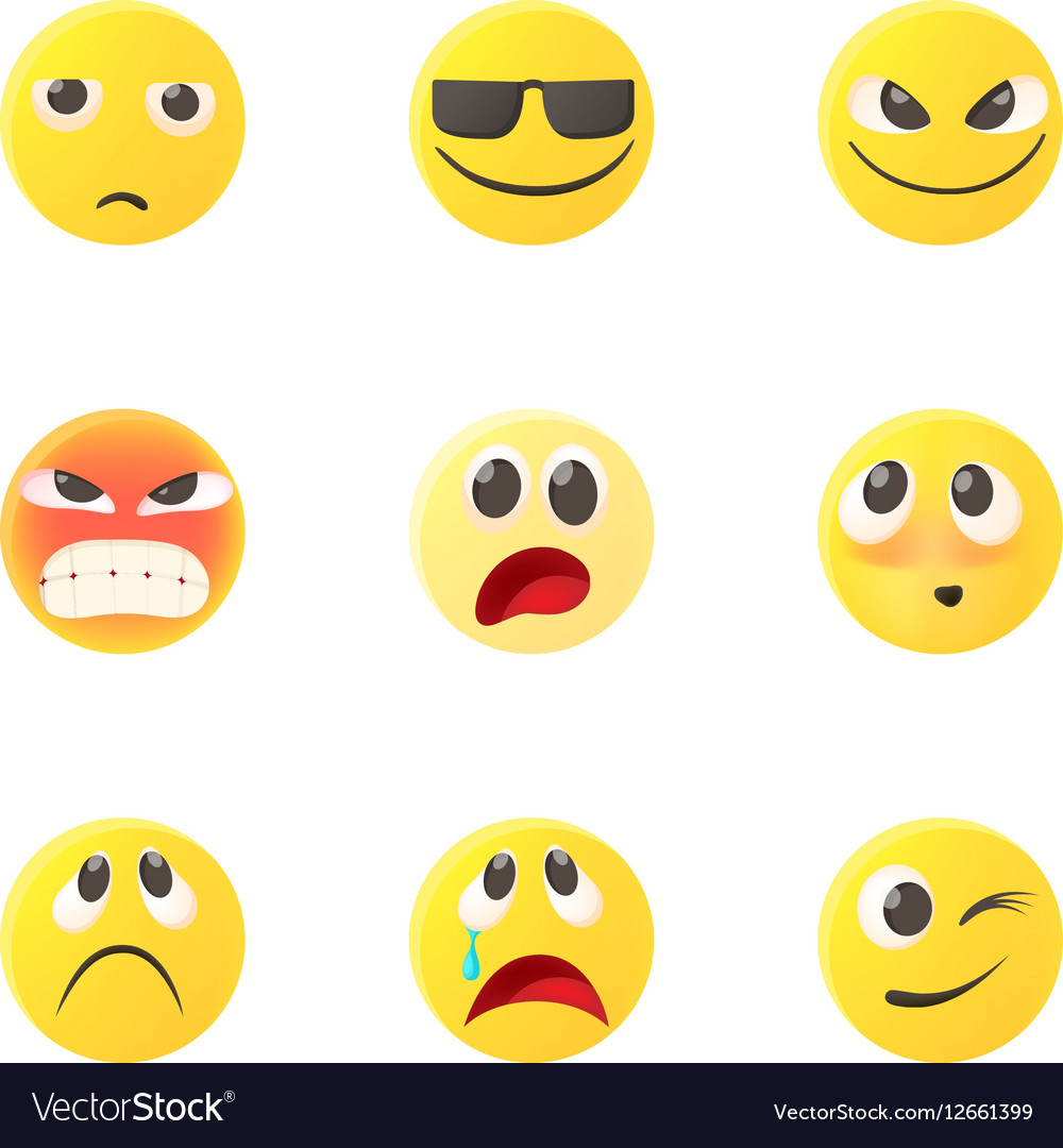 Emoticons icons set cartoon style