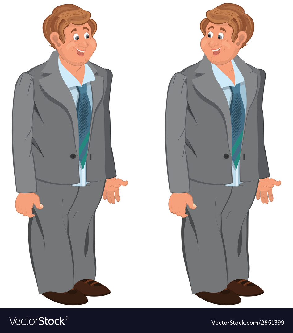 Happy cartoon man standing in gray suit and green