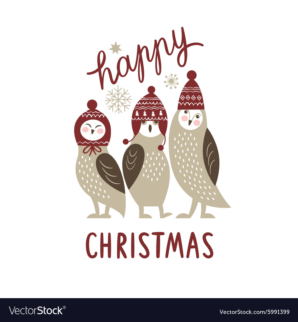 Happy Christmas card three cute owls