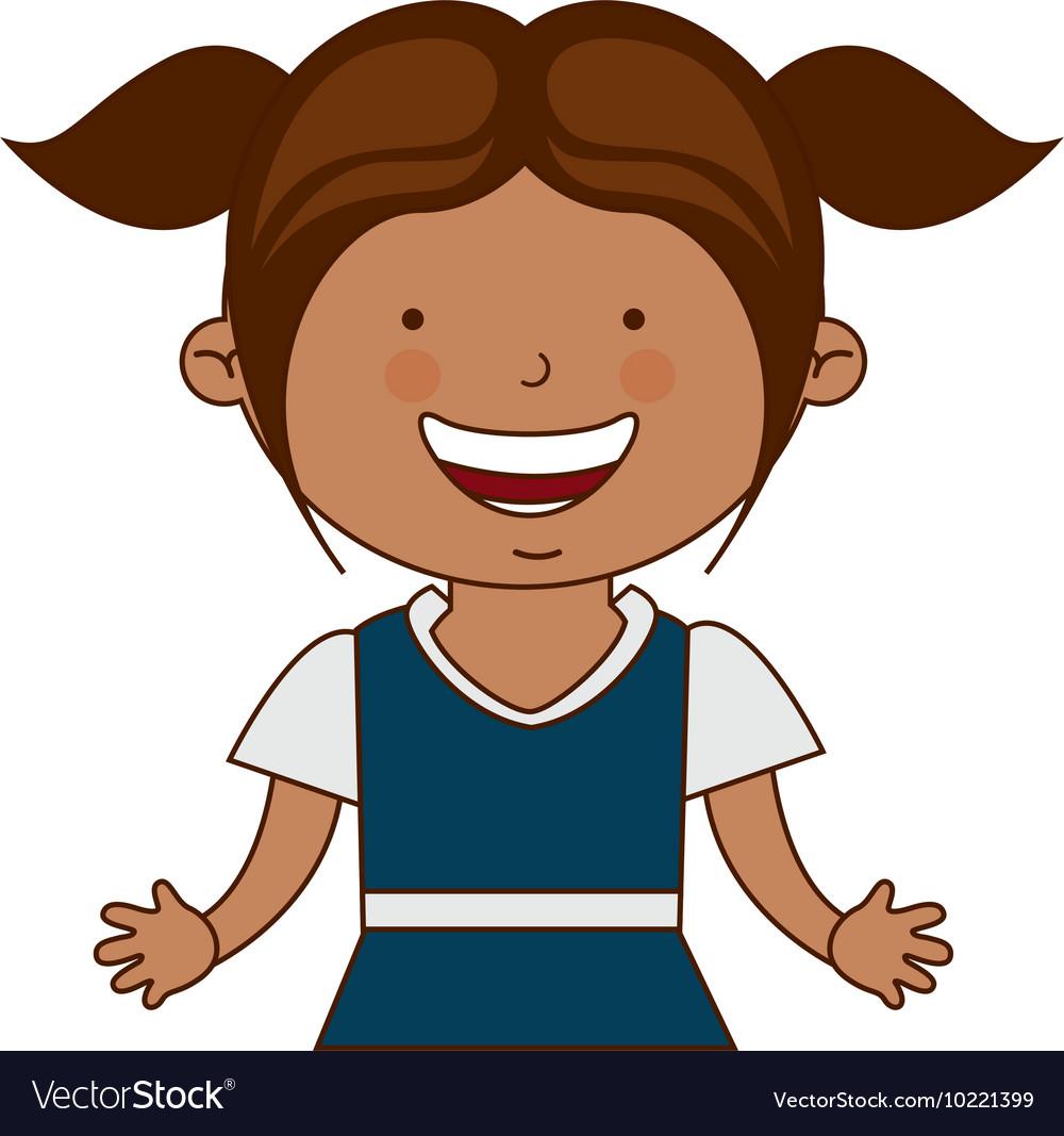 Happy girl student uniform isolated vector image