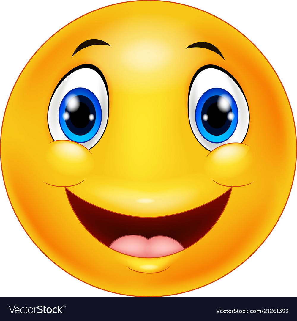 Happy smiley emoticon face on white background Vector Image