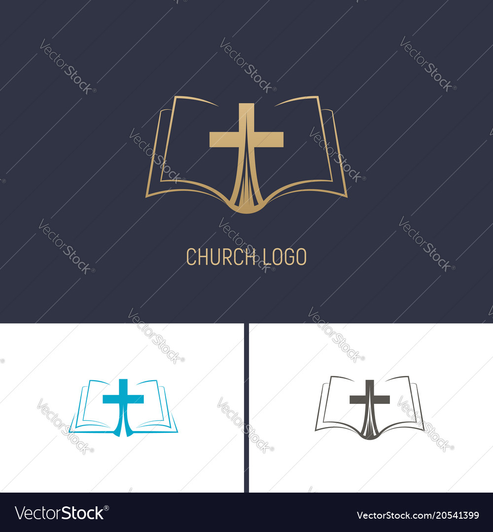 Logo of the church christian symbols a book with