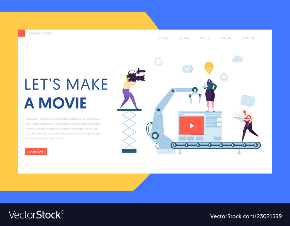 Making movie video production landing page