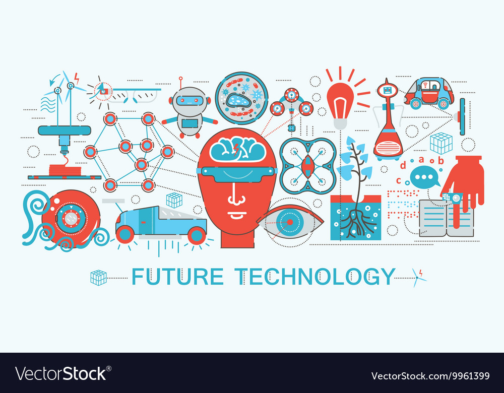 Modern Flat thin Line design Future science vector image