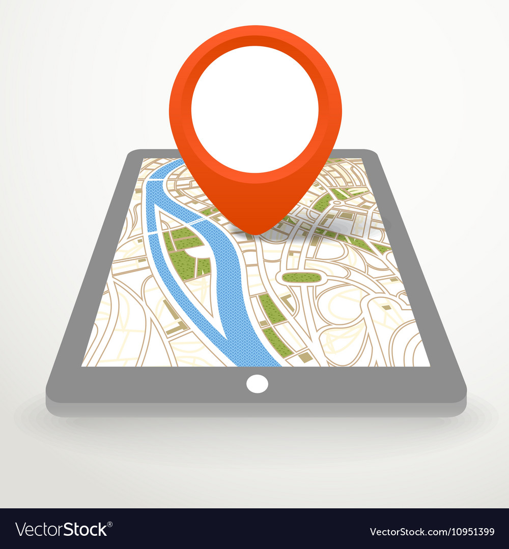 Modern gadget with abstract city map in
