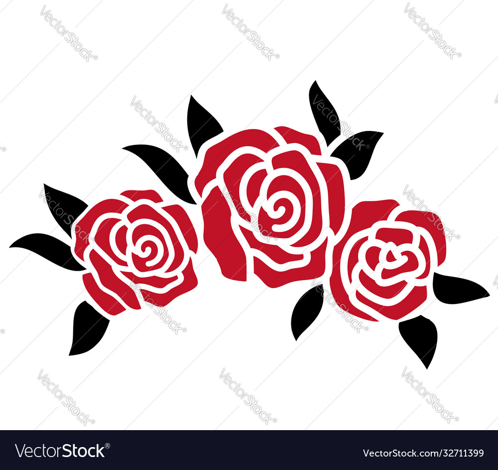 Roses tattoo red roses black silhouette