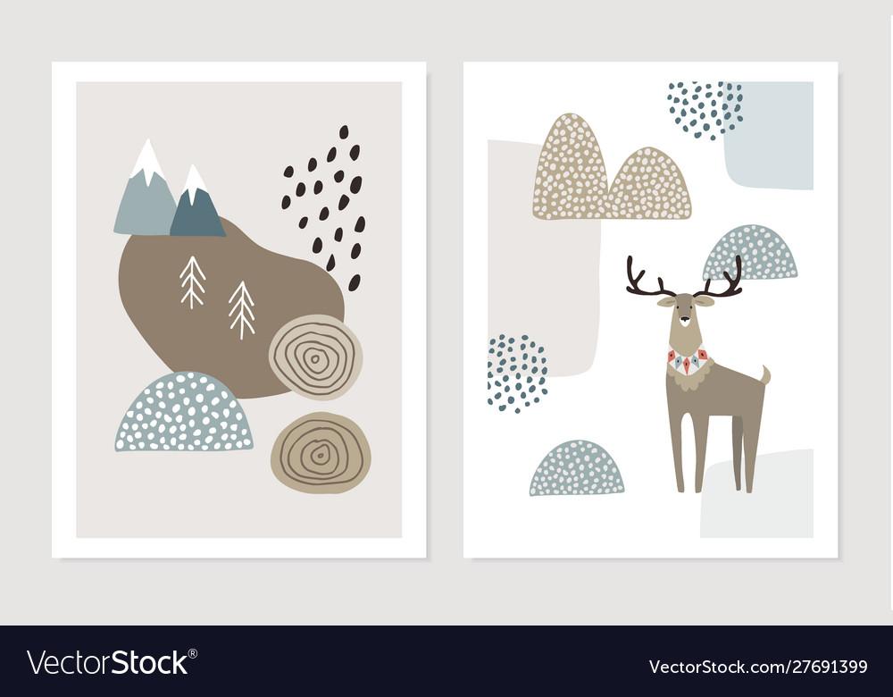 Set christmas scandinavian greeting cards