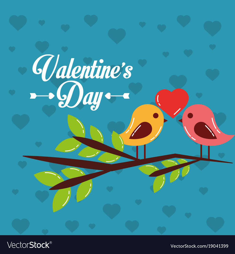 Valentines day card couple birds heart in branch