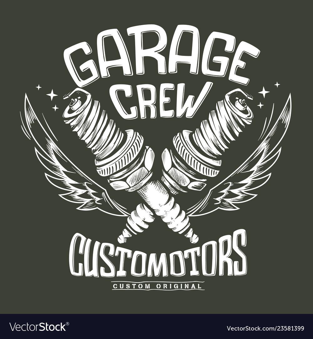 Vintage motorcycle club garage spark plug print