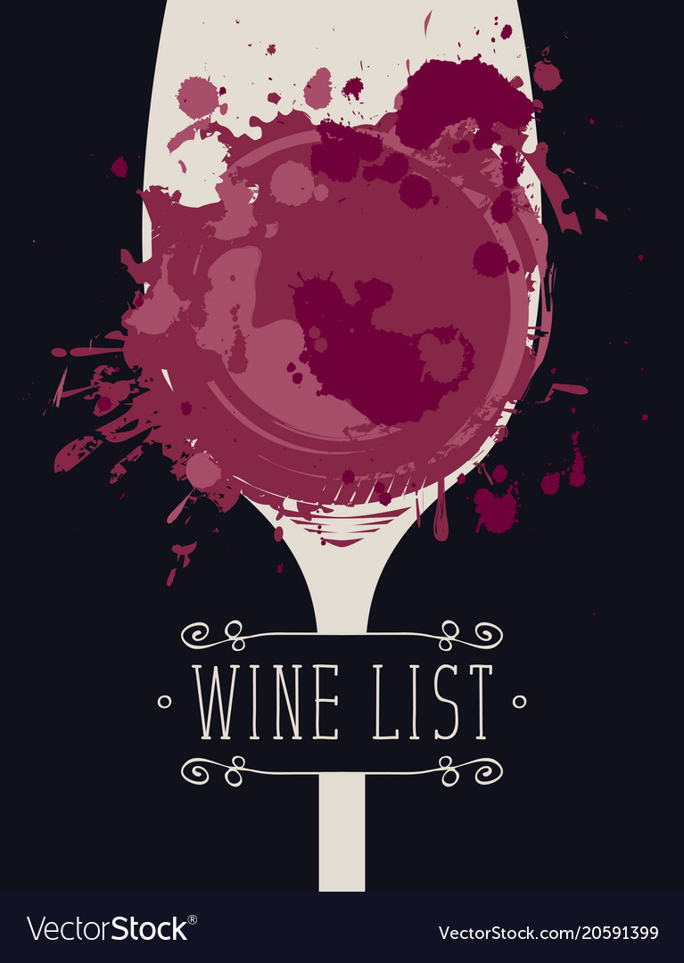 Wine list with glass of wine spots and splashes