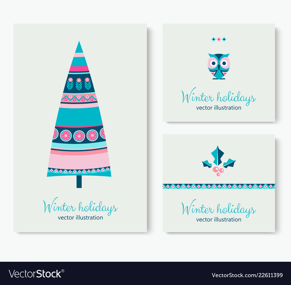 Winter holidays cards with trees colorful balls