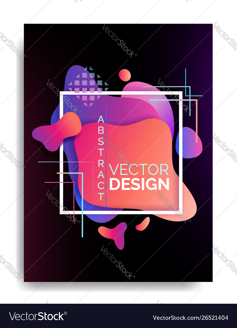 Abstract flowing liquid elements poster a4