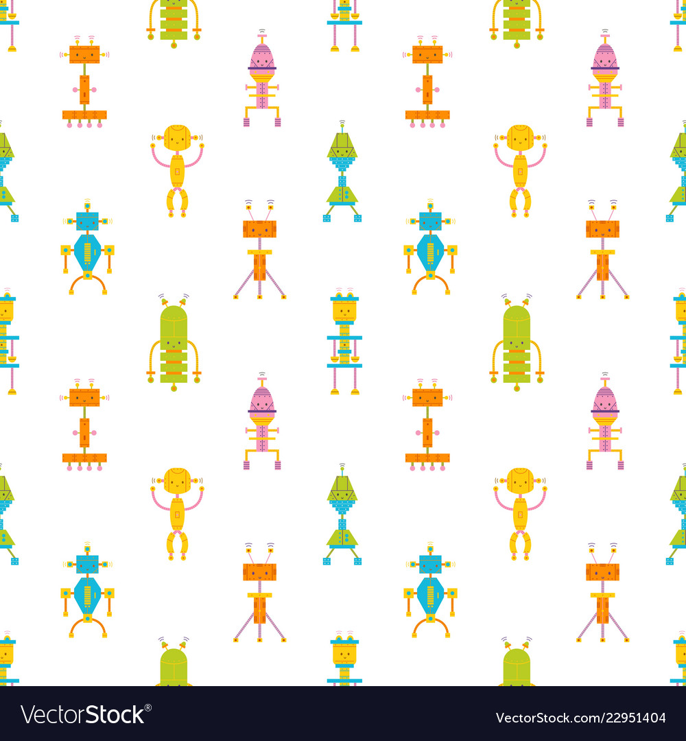 Childish seamless pattern with cute smiling robots