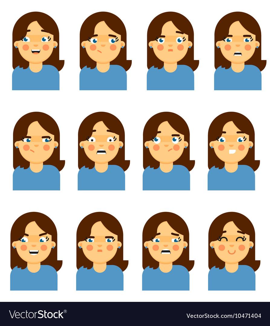 Female face emotional icon on white background vector image