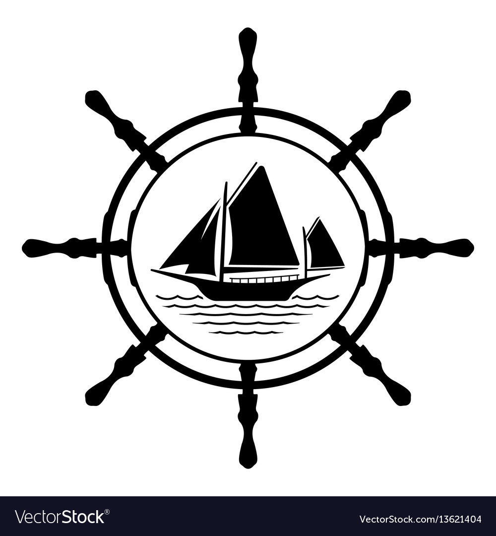 Flat yacht logo icon with helm