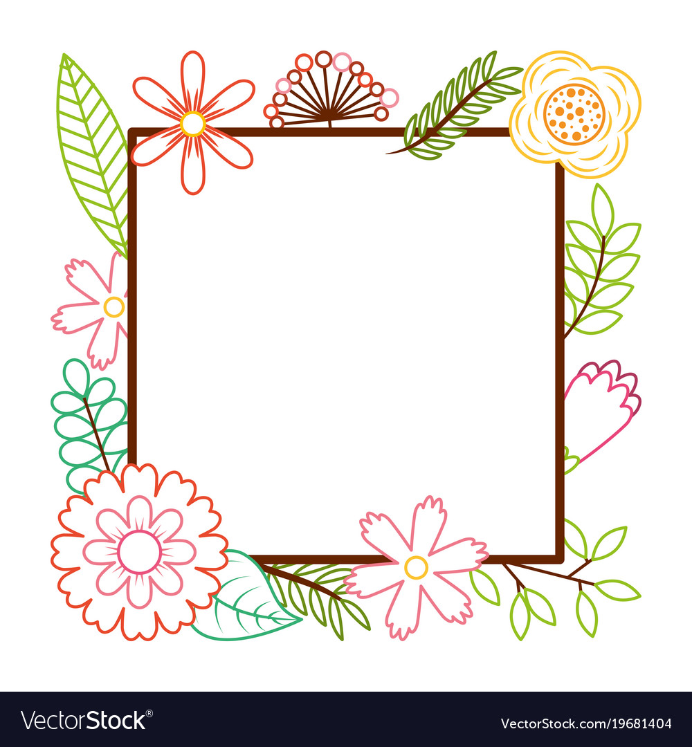 Frame From Wild Flowers Greeting Card Template Vector Image