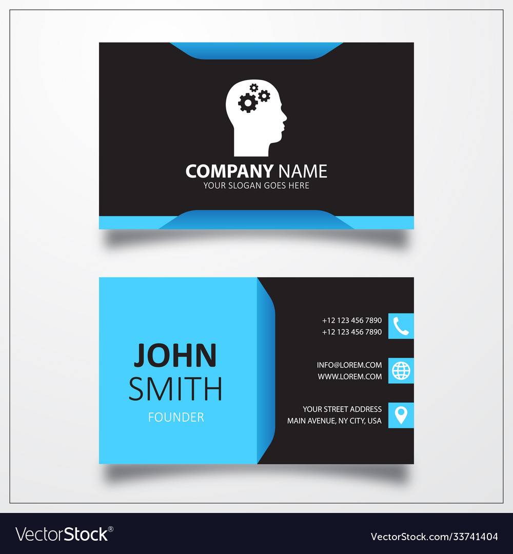 Gear in head icon business card template