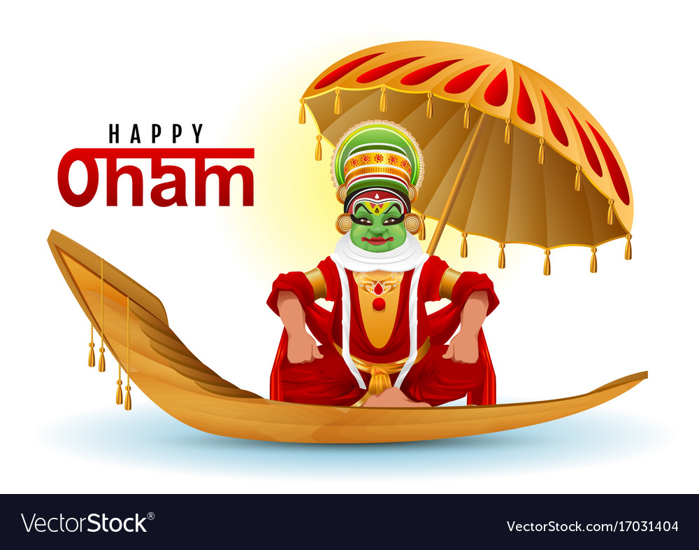 Happy onam greeting card hindu festival of kerala