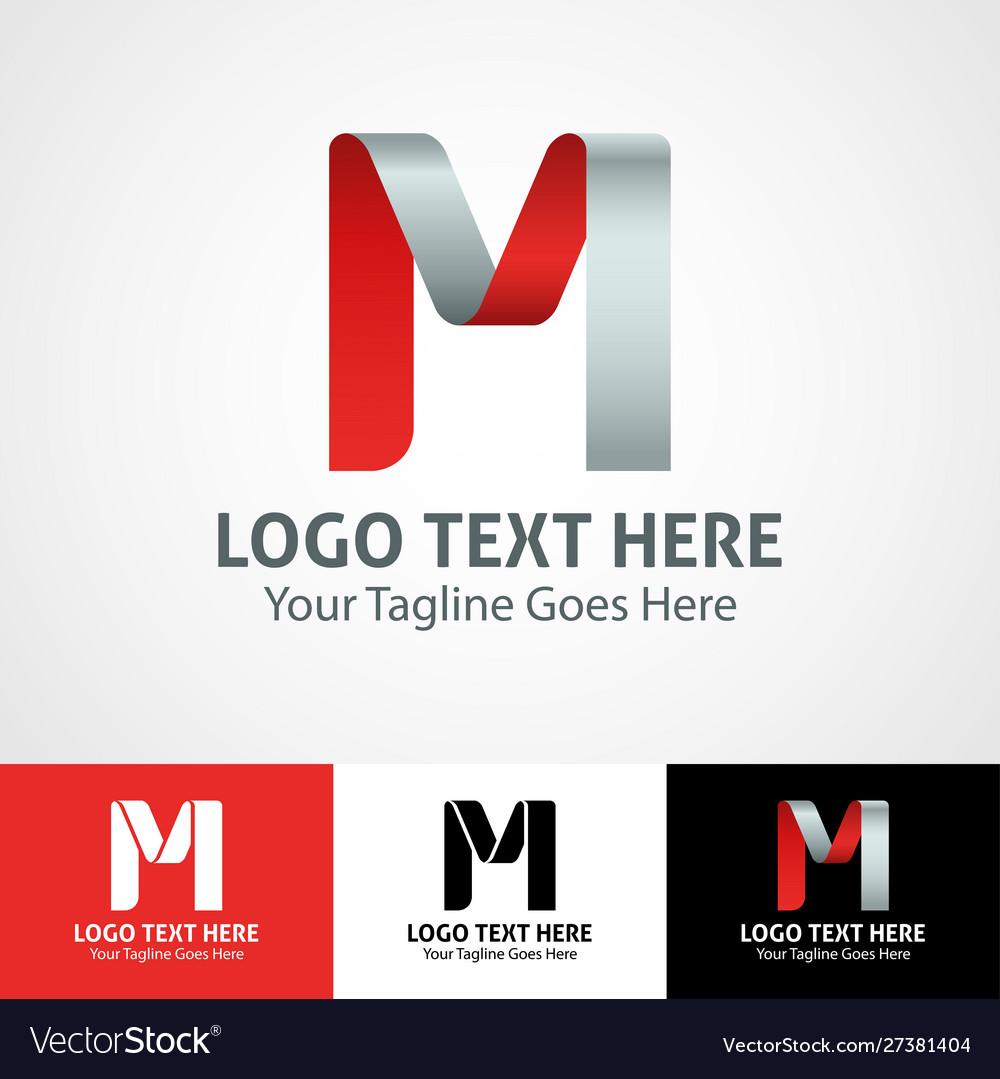 Hi-tech trendy initial icon logo m