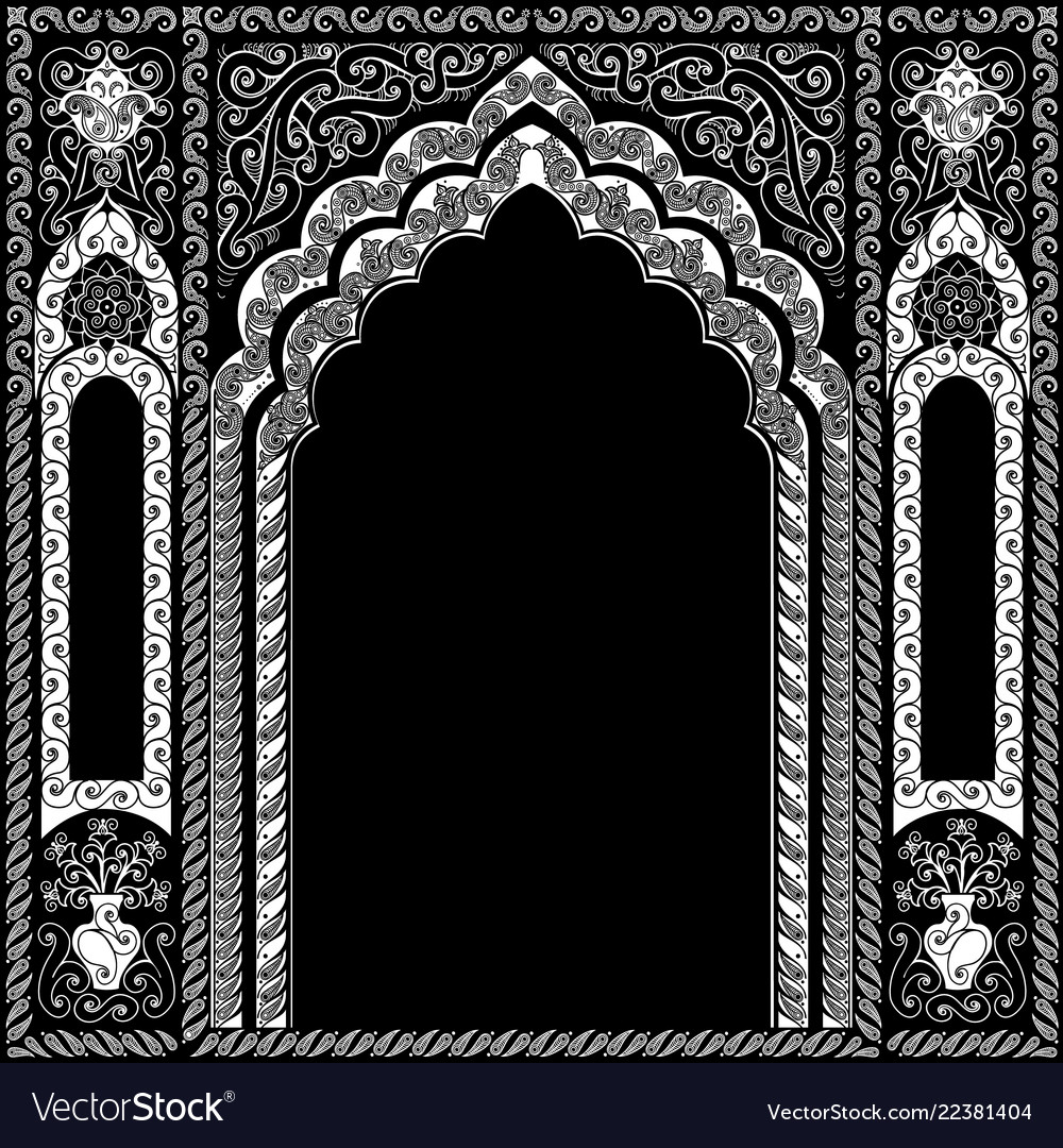 Indian ornamented arch white and black