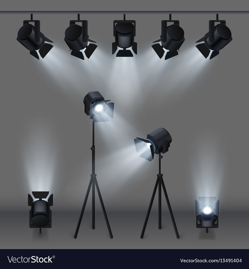 Lighted stage with studio spotlights