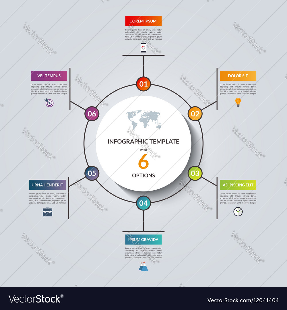 Linear infographic circle template with 6 options vector image