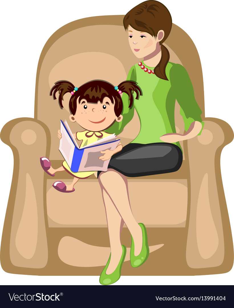 Little girl reading a book with mother in armchair vector image