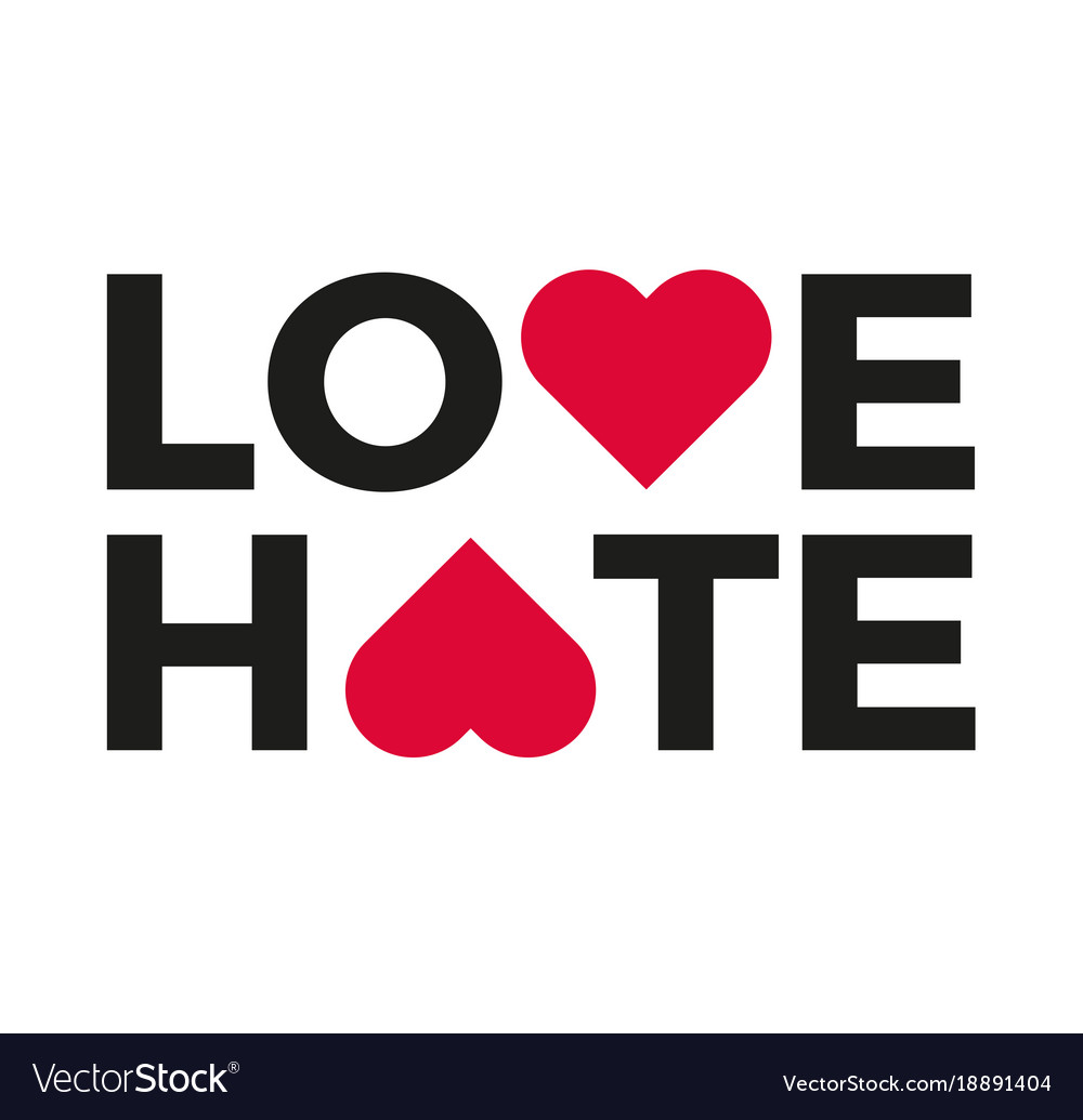 Love Hate Logo With Heart Symbol Upside Down Vector Image
