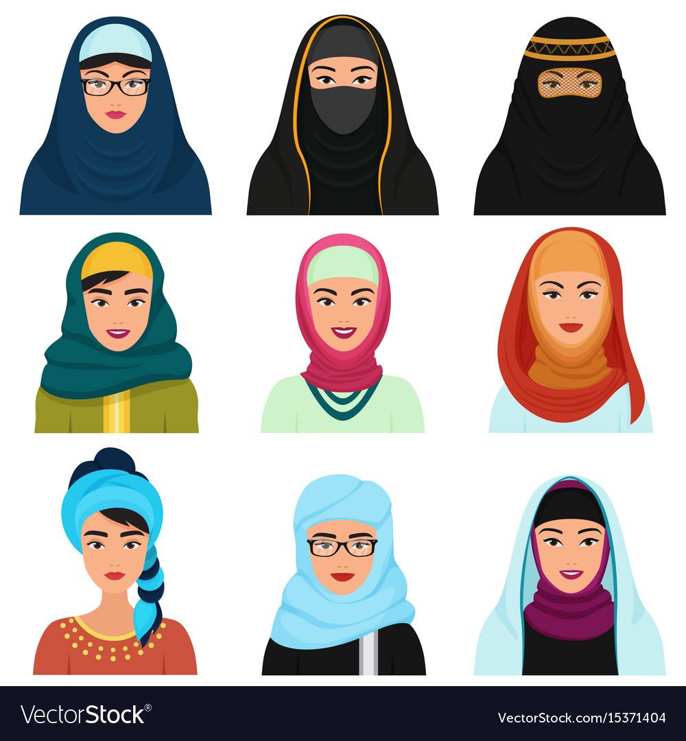 Middle eastern female avatars set arabian muslim