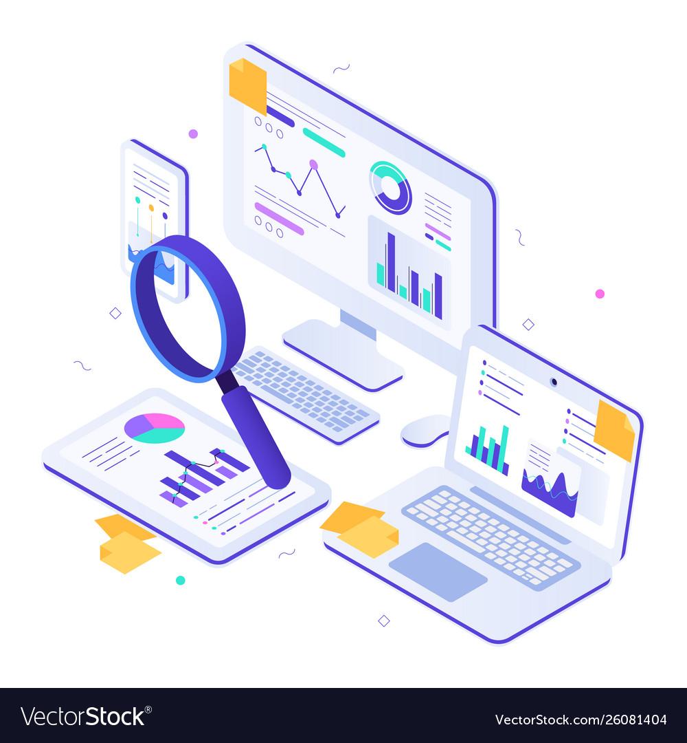 Online financial audit isometric website metrics