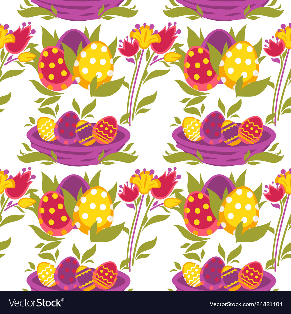 Painted eggs seamless pattern easter religious
