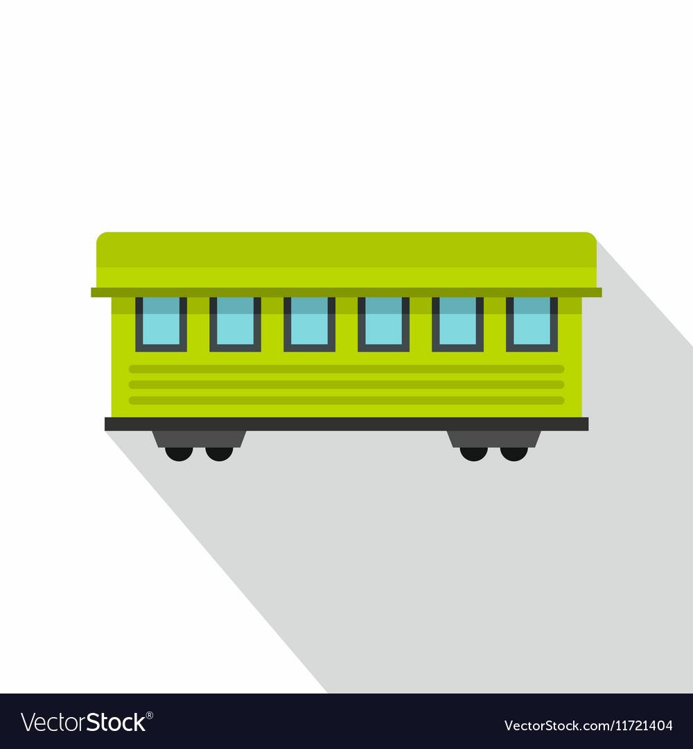 Passenger train car icon flat style vector image
