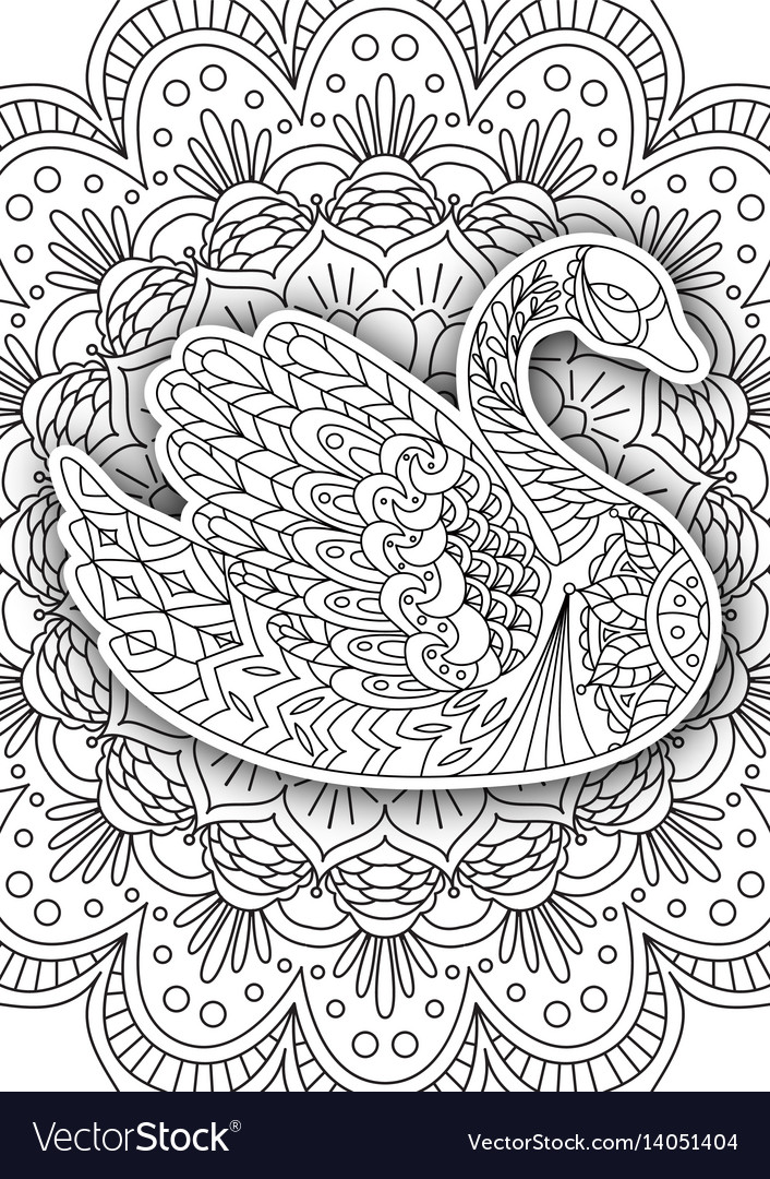 - Printable Coloring Book Page For Adults - Swan Vector Image