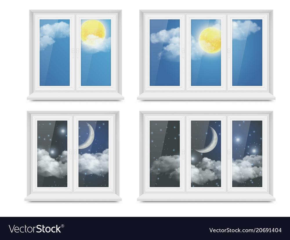 Realistic white plastic window icon set
