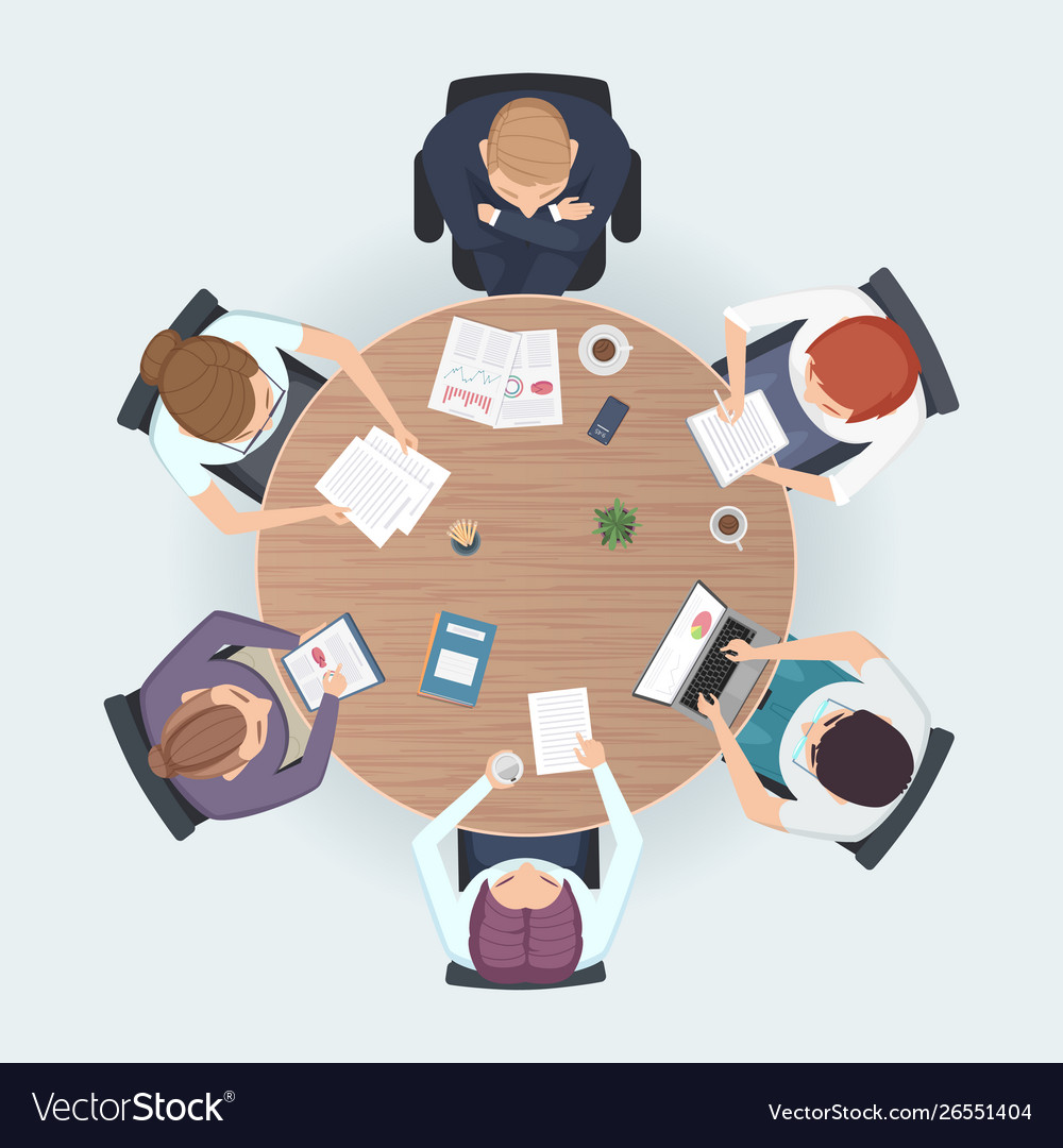Round table top view business people sitting