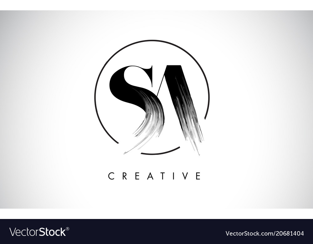 Sa brush stroke letter logo design black paint