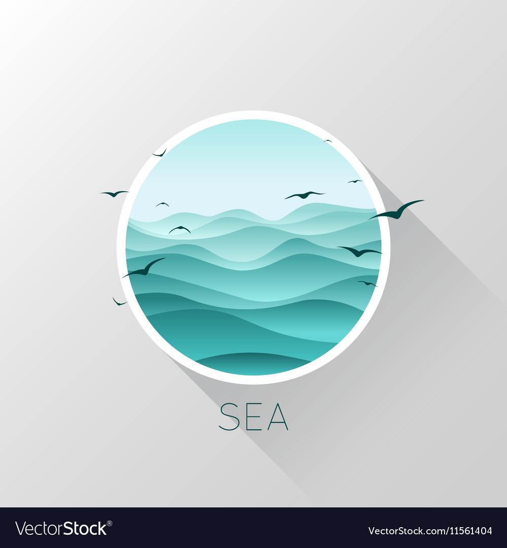 Sea icon Waves and seagulls