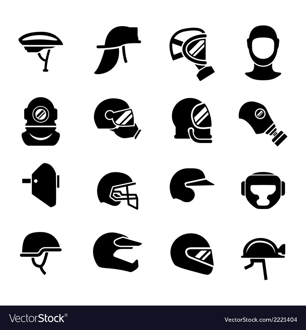 Set icons of helmets and masks