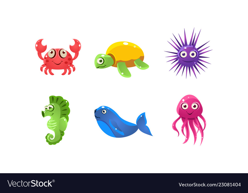 Set of cartoon sea creatures with funny faces