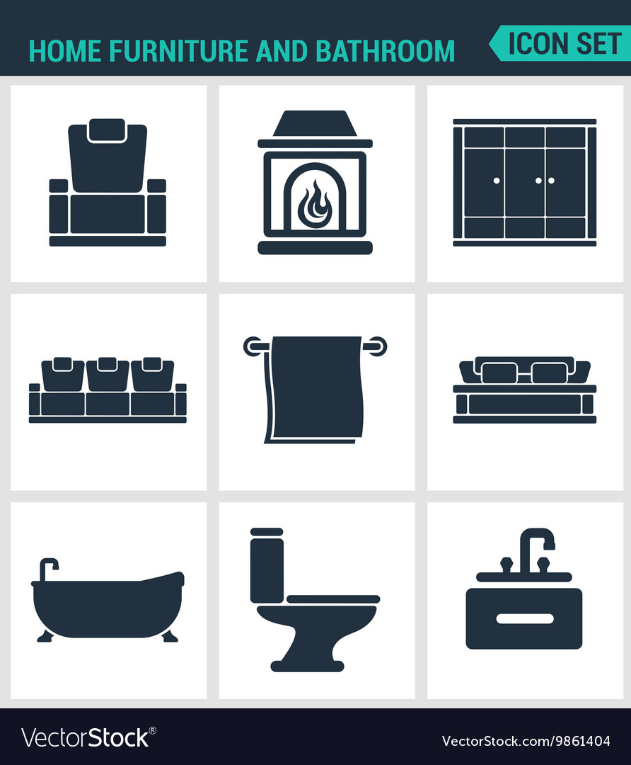 Set of modern icons Home furniture and