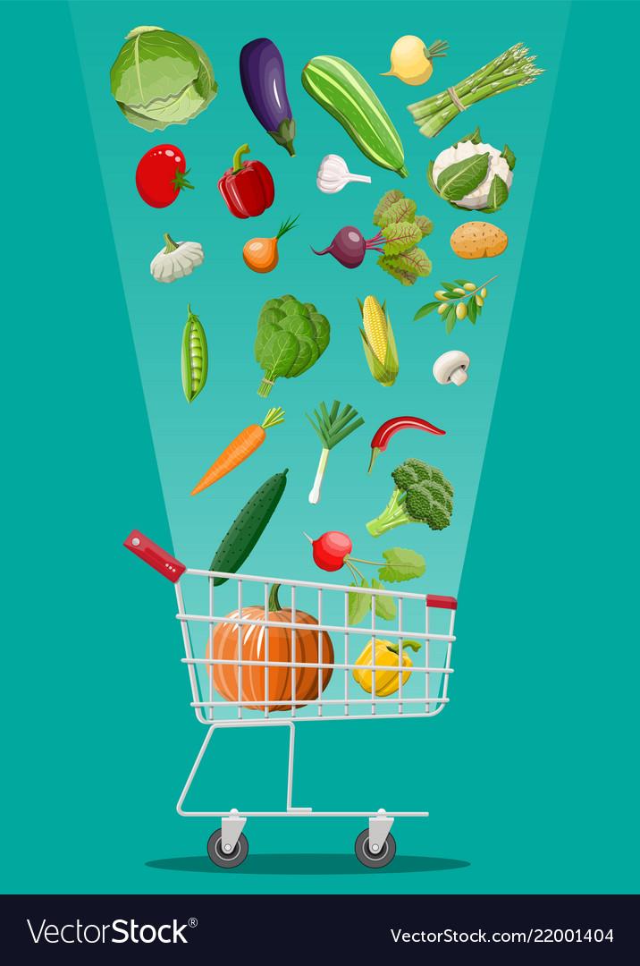 Shopping cart full of vegetables